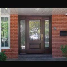 Side Light Entry Doors | Amberwood Doors Inc. Modern Wooden Doors, Wooden Main Door Design, Entry Hall, Entry Doors, Front Doors, Double Doors Exterior, New Homes, House Design, Front Porches