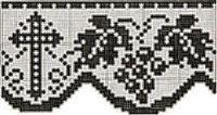 Cross & Grapes Religious Edging Vintage Filet Crochet Pattern for download