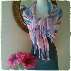 Yellow Pink Blue Fringe Pareo Sarong Wrap & Scarf