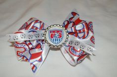 US National Soccer Team Bow by PreciousBlooms on Etsy, $6.00