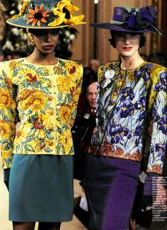 Yves Saint Laurent S/S 1988 Couture Collection van Gogh-inspired jackets, Iris and Sunflower. 80s Fashion, Fashion History, Couture Fashion, Vintage Fashion, Ysl, Christian Dior, Naomi Campbell, François Lesage, Vogue Paris