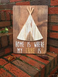 Teepee wall art. Adorable woodland decor.   Unique teepee wall art. An original design created by Anna of Kate's Crafty Heart. Follow the link to purchase this gorgeous piece on Etsy.