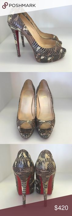 Christian Louboutin Lady Peep Aligator Size 40 Wow! Stunning shoes! In  amazing amazing conditions