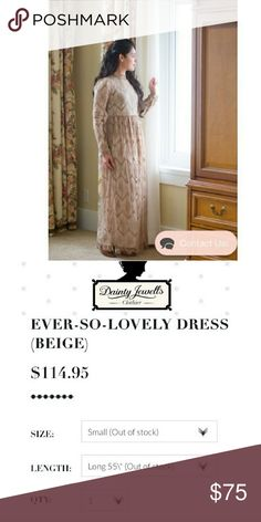 DAINTY JEWELS Ever So Lovely LONG LENGTH dress S Size small.  Tan lace.  Fully lined. Beautiful! Worn maybe once! Size small. Zippered back. Feel free to ask questions.  Elegant. Dainty Jewels  Dresses Maxi