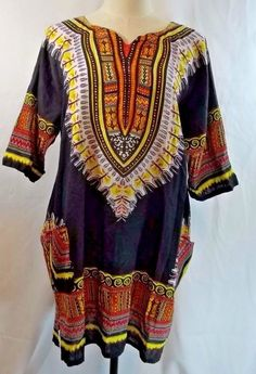 9e2dd5afe5 Hippie Boho Long Blouse Dress Beach Coverup One Size Pockets Cotton Jackpot   Jackpot  Blouse