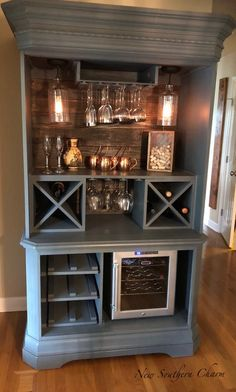 Custom Armoire Bar Cabinet Coffee Station Wine Cabinet Rustic Bar Repurposed Armiore Cabinet Bars for home Coffee Nook, Coffee Bar Home, Home Coffee Stations, Coffee Corner, Coffee Wine, Corner Wine Bar, Coffee Beans, Corner Wine Cabinet, Home Wine Bar