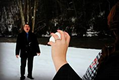 Adorable winter engagement photo!