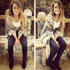 Love the sweater and her Minnetonka tramper boots!