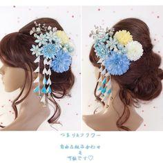 【F1705HE73】つまみ&フラワー♡ヘッドドレス/髪飾り♡・結婚式・パーディー・和婚・成人式・卒業式