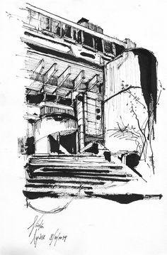 Croquis a tinta china de la Biblioteca Nacional, obra de Clorindo Testa Por: Nicolás Aguirre