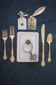 Gold flatware | Bellamint Photography | http://burnettsboards.com/2014/01/royalty-themed-wedding/