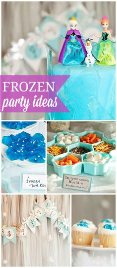 A Frozen girl birthday party with building your own snowmen, blue ice jello and a pretty cake! See more party planning ideas at CatchMyParty.com!