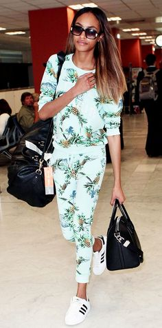If your airport style is all about comfort, take a note from Jourdan Dunn and go for some classic sneakers. Dunn is wearing Adidas Superstar 2.0 Shoes // #celebritystyle