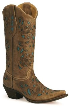Corral Turquoise Leather Inlay Cowgirl Boots available at #Sheplers