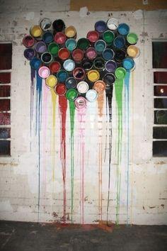 this is cute, street art, graffiti Graffiti Artwork, Street Art Graffiti, Heart Graffiti, Banksy, Instalation Art, Deco Originale, The Design Files, Paint Cans, Paint Buckets
