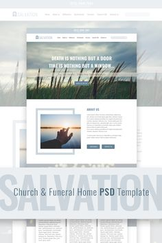 Salvation - Church & Funeral Home Landing Page PSD Template Photoshop Celebrities, Photoshop 5, Photoshop Tutorial, Powerpoint Tips, Page Design, Design Ideas, Free Advertising, Social Media Logos, Psd Templates