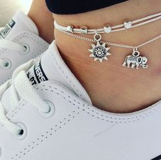 Silver bead charm anklet on adjustable white by SERENITYproject