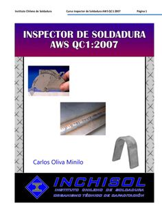 Instituto Chileno de Soldadura  Curso Inspector de Soldadura AWS QC1:2007  Página 1