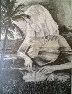 """""""the end of the age of aquarius"""" by jan schmelcher, pencil on paper mounted on wood, 26 x 22 cm"""