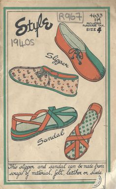 1940s Vintage Sewing Pattern SANDLE & SLIPPER (R967)   eBay