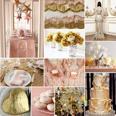 Pink and gold party - not traditional Oscar colors...but the pink looks divine with the gold and oh so elegant.