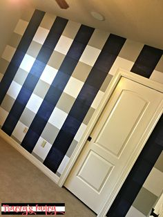 Accent Wall: DIY Buffalo Check Wall | Tracey's Fancy Accent Walls In Living Room, Accent Wall Bedroom, Thin Brick Veneer, Taupe Paint, All White Room, Accent Wall Colors, Budget, Flat Shapes, Ship Lap Walls