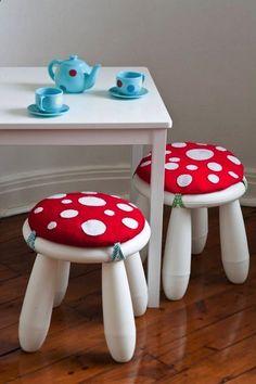 DIY IKEA Hacks for Kids' Rooms: MAMMUTT stool becomes a sweet mushroom