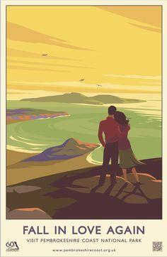 Pembrokeshire Coast National Park - Cornwal  60th anniversary posters Vintage travel beach poster #essenzadiriviera.com