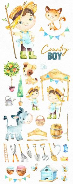 This Country Boy watercolor set is just what you needed for the perfect invitations, craft projects, paper products, party decorations, printable, greetings cards, posters, stationery, scrapbooking, stickers, t-shirts, baby clothes, web designs and much more.  :::::: DETAILS ::::::  This collection includes : - 43 Images in separate PNG files, transparent background  Size approx.: 10.6-2in (3200-600px)  300 dpi RGB  ::::: TERMS OF USE :::::  ► Personal or non-profit  You can use our artworks…