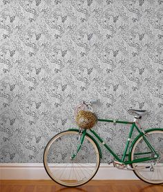 wallpaper for Hygge & West by Pattern People Bicycle Party, Vintage Bikes, Cool Bikes, Pattern Wallpaper, Hygge, Outdoor Gardens, Diy Projects, Interior Design, Beautiful Wallpaper