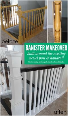 I'm so happy that I found these cheap DIY home improvements on a budget. Now I can finally make improvements and upgrades to my home for without breaking my budget. diy home improvement 20 DIY Home Improvements and Upgrades That Won't Break Your Budget Stair Banister, Banisters, Stair Risers, Stairs Without Banister, White Banister, Black Stair Railing, Stair Newel Post, Home Improvement Projects, Home Projects
