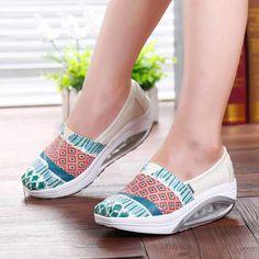 Beige art pattern slip on rocker bottom shoe sneaker | Womens rocker sneakers shoes online 1662WS
