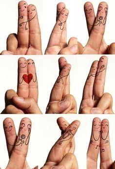 Dedinhos desenhados por Hiro para o Dia dos Namorados.