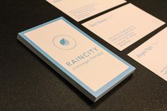 Calming, blue #businesscards for Rain City Massage Therapy, located in the heart of South Granville.