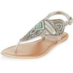 New Look Mint Green Leather Beaded Sandals (48 CAD) ❤ liked on Polyvore featuring shoes, sandals, mint green, leather sandals, new look shoes, genuine leather shoes, real leather shoes and mint shoes