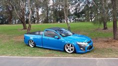 Ford FG ute in Nitro Blue wearing Simmons FR-18 wheels. Very nice combo!!