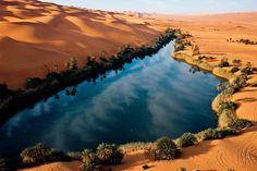 بحيرة أم الماء في قلب الصحراء الليبية .. Um El-Ma'a Oasis Lake