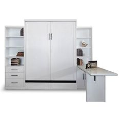 Storage Wall Bed with Cabinets and Desk in Pearl White Finish