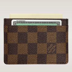 (Height*Depth) 2.76 X 4.33 inches  - Damier canvas  - An interior slot holds bigger cards and receipts  - Two outside slots for credit cards, transport cards or others