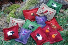 Hand Warmer Rice Bags Heat Pack Needle Felted Gift Set Thanksgiving Christmas Stocking Stuffers on Etsy, $45.00