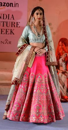 Fuchsia Pink Embroidered Lehenga , Pale Blue Blouse & Sitara Work Dupatta with a Velvet Border - Anju Modi Indian Bridal Fashion, Indian Bridal Wear, Indian Wedding Outfits, Pakistani Outfits, Indian Outfits, Bride Indian, Punjabi Bride, Bridal Outfits, Lehenga Designs