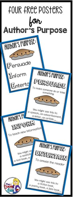 Free set of four reading posters to help you teach author's purpose. Great reference for your students too! These author's purpose posters are also included in my very complete 60 page Author's Purpose Sets for 3rd and for 4th and 5th.