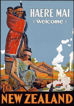Vintage New Zealand Welcome Travel Poster