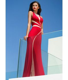 25e9cf52bd Red maxi dress with nude curved panel and embellished neckline. This Forever  Unique dress is lined with a sheer mesh panel features bust cups and  invisible ...