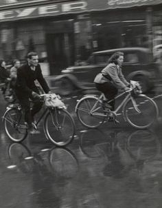 Todd Webb - Paris Traffic (couple on bikes), 1950