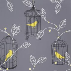Aviary Plain Wallpaper in Grey and Yellow by Arthouse Opera B&Q