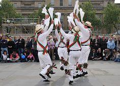 Westminster Day of Dance 2009, Morris dancers in Trafalgar Square, 9th May 2009