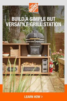 Build an outdoor grill station with help from The Home Depot. Complete your backyard space with a simple yet versatile grilling station that has plenty of countertop space for food prep and storage space for your grilling utensils. This Home Depot guide provides step-by-step instructions on how to create this new home for your grill. Click to get started. Patio Kitchen, Diy Outdoor Kitchen, Outdoor Cooking, Outdoor Decor, Outdoor Grill Station, Diy Grill, Backyard Cookout, Built In Grill, Grill Accessories