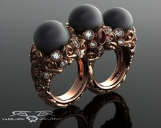 Two Finger Super Luxury Three Black Pearl, 18kt Rose Gold, Colorless Ideal Cut Diamond, and Brilliant Ruby Vintage Scroll Cocktail Ring..E.26.834,70