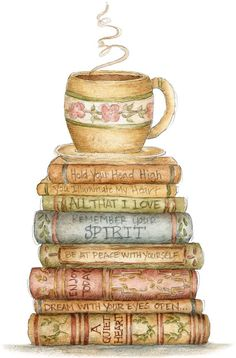beautiful soft drawing of books and tea, the two best things.